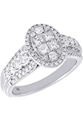 14K White Gold Princess Cut Round Diamond Oval Engagement Ring 1 Cttw