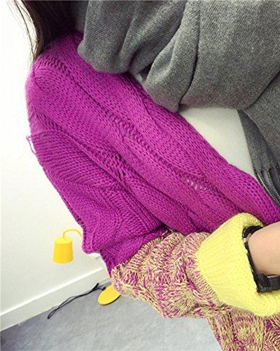 Manches Chaud Oversize Jumper Gilets Veste Tricot Cardigan en Longues Jaune Femme Pull Top 85wfqp8x