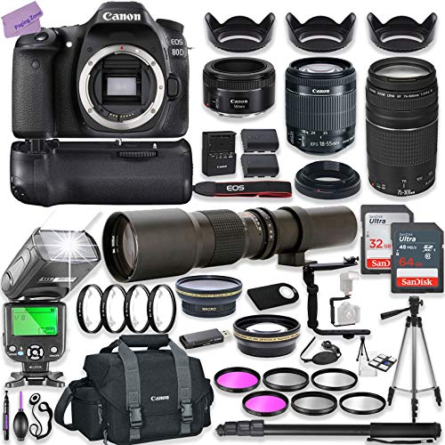 Canon EOS 80D DSLR Camera w/ 18-55mm Lens Bundle + Canon 75-300mm III Lens, Canon 50mm f/1.8 & 500mm Preset Lens + Battery Grip + Canon Case + 96GB Memory + Speedlight Flash + Professional Bundle (Lens Grip)
