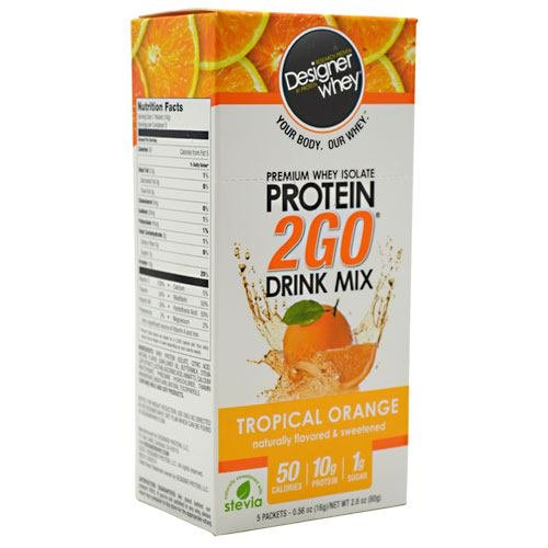 Designer Whey Protein 2GO Drink Mix Tropical Orange - 5 paquets