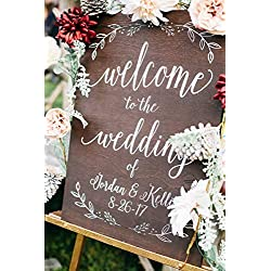 Wooden Wedding Welcome Sign: Custom Wedding Decor Display Date & Couple Name, Personalized Welcome Wedding Sign, Weathered Oak Stain Wood Sign, Wedding & Reception Decorations