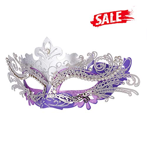 Hoshin Masquerade Mask, Mardi Gras Deecorations Venetian Masks for Womens (Purple & -