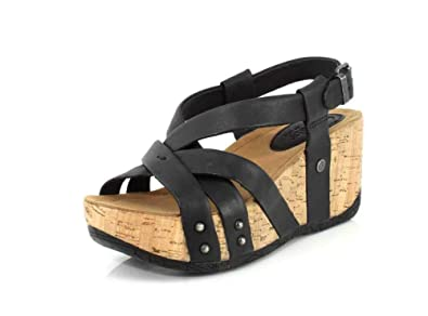 b18b7fc00a04 Bussola Women s Fabia Leather Strappy Open Toe Platform Wedge Buckle Sandal( Black Gobba
