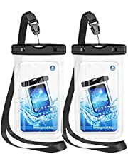 """Waterproof Phone Case, 2 Pack IPX8 Waterproof Phone Pouch Dry Bag Compatible with iPhone 12/12 Pro Max/11/11 Pro/SE/XS Max/XR/XS/8+/7, Galaxy S20/S10/S9/S8+ up to 7"""" for Beach Kayaking Bathroom Shower"""