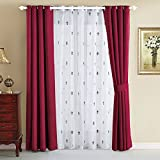 Home Soft Things Serenta Fleur De Lis Thermal Insulated Blackout Curtains 6 Piece Set, 54″ x 84″, Burgundy