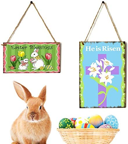 Jetec 2 Pieces Easter Bunny Wood Door Hanging Sign Happy Easter Wall Decoration He Is Risen Wood Hanging Sign Wooden Rabbit Hanging Decoration Sign Decorative Sign Hanging Easter Greetings 2 Styles Furniture Decor