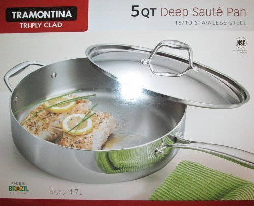 Tramontina 5-Qt Tri-Ply Clad Deep Saute Pan with Lid, Stainless Steel by Tramontina