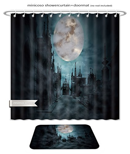 Minicoso Bath Two Piece Suit: Shower Curtains and Bath Rugs Main Street Of An Old European Cemetery In A Cloudy And Foggy Full Moon Night Shower Curtain and Doormat (Main Street Collection Monogram)