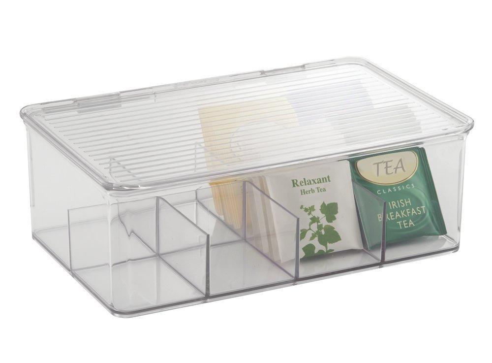 mDesign contenitore con coperchio incernierato per cucina, dispensa, frigorifero, congelatore, 0,75 litri - Trasparente MetroDecor Others