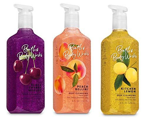 Bath and Body Works Deep Cleansing Hand Soap Trio -- Kitchen Lemon - Peach Bellini - Black Cherry Merlot -- Pack of 3 Hand Soaps, 8 ounces each  - Hand Wash Soap Cleansing