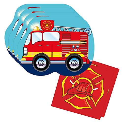 (Fire Truck Shaped Plate & Napkin Sets (70+ Pieces for 32 Guests!), Firefighter Tableware Sets, Birthday)
