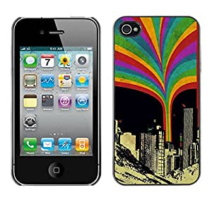 EJOY---Cubierta de la caja de protección la piel dura para el / iPhone 4 / 4S / --Rainbow Squirt Urbano