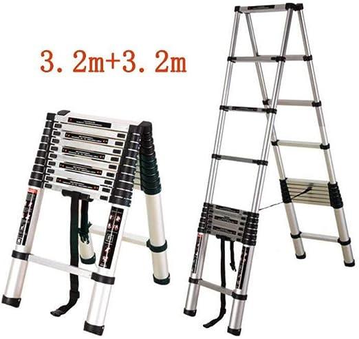 Escalera telescópica, Escalera del hogar Fold espiga de escalera escalera portátil Ingeniería ático (Color : 3.8m+3.8m): Amazon.es: Bricolaje y herramientas