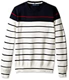 Nautica Men's Long Sleeve Striped Crew Neck Sweater, Marshmallow, X-Small