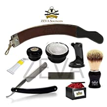 Straight Razor Strap Stone Soap Brush Shaving Set / Kit From ZEVA by ZEVA Solingen