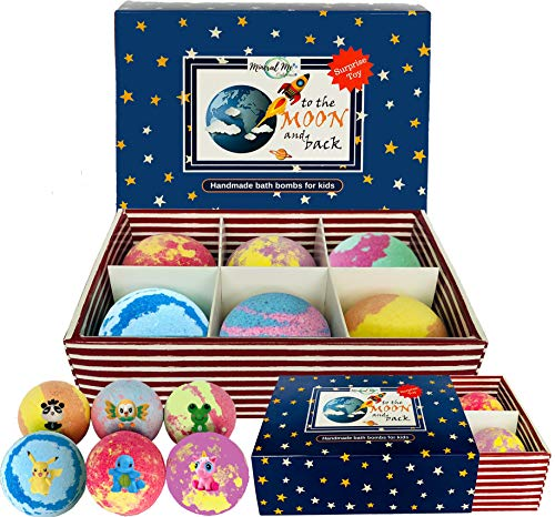 Kids Bath Bombs with Toys Inside- All Natural w/Shea Butter and Essential Oils. Kid Safe, Gender Neutral Large Bubble Bath Fizzies with Surprise