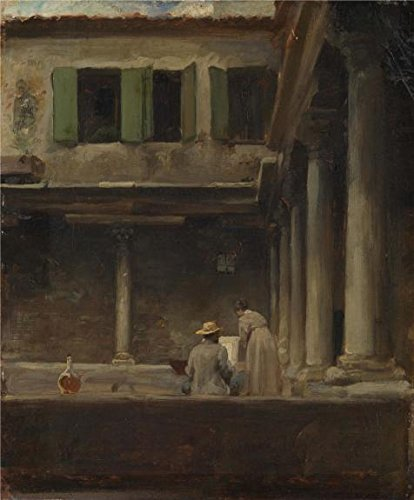 [Perfect Effect Canvas ,the Imitations Art DecorativeCanvas Prints Of Oil Painting 'Lord Leighton Frederic-An Artist Sketching In The Cloister Of S. Gregorio, Venice,19th Century', 18x22 Inch / 46x55 Cm Is Best For Living Room Artwork And Home Decoration And] (Minion Costume Falls Over)