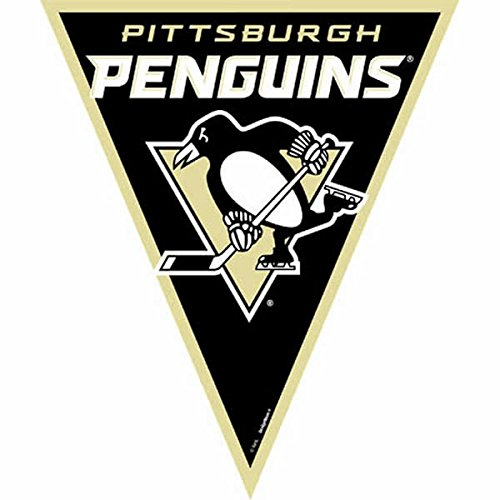 Amscan NHL Licensed Pittsburgh Penguins Pennant Banner, 1 Piece, Made from Plastic, Birthday/Victory/Tailgate Party, 12 Feet -