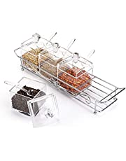 Yopay 4 Pack Large Seasoning Rack Spice Box, Gourmet Acrylic Seasoning Pot Set, Storage Container Condiment Jars with 4 Serving Spoons Covers and Stainless Steel Rack, Condiment Cruet Bottle