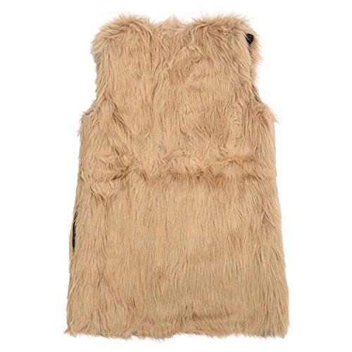 Gilet - TOOGOO(R)Gilet en fausse fourrure veste mi-long Gilet for frmmr brun XXXL