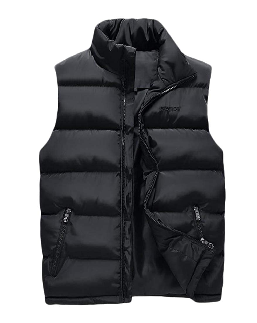AngelSpace Mens Padded Quilted Simple Vest Jackets Stand Collar Thick Coat