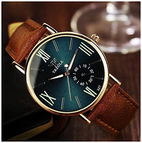 LinTimes Fashion Mens Womens Watch Quartz Analog Roman Numeral Scale Business Casual Wristwatch Brown Band Green - Green Female Brown