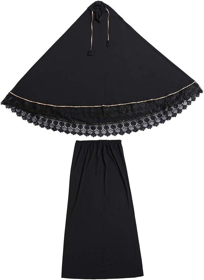 Gwxevce 2pcs Vestido Tradicional de Las Mujeres Musulmanas Vestido de Doble Capa Conjuntos de oración islámica