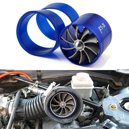 YSHtanj Engines & Components Car Turbo Universal Fuel Gas Saver Air Filter Intake Single Supercharger Turbine Turbo Fan - Blue: