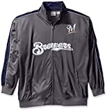 Profile Big & Tall MLB Milwaukee Brewers Men's Team Reflective Tricot Track Jacket, 3X, Charcoal/Navy