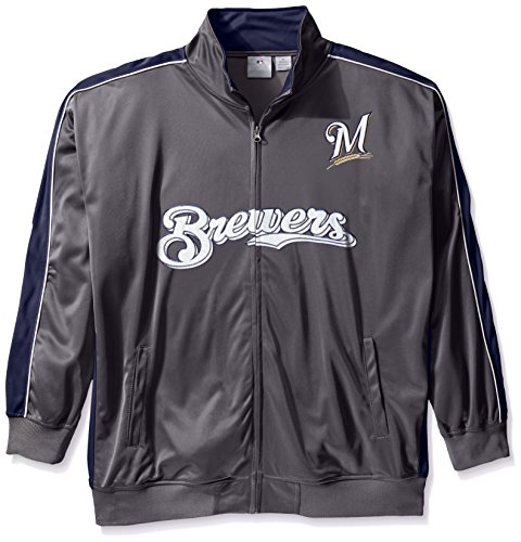 MLB Milwaukee Brewers Men's Team Reflective Tricot Track Jacket, 3X, Charcoal/Navy ()