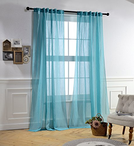 Panels Hanging Curtain (MYSKY HOME Curtain Sheers for Bedroom by Rod Pocket and Back Tap Cruhsed Sheer Curtains for Living Room (Teal, 51