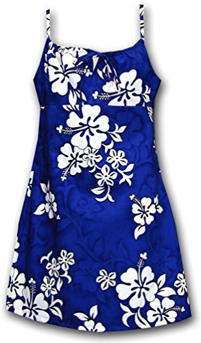 Dress Hawaiian Spaghetti Girl (White Hibiscus Girls Spaghetti Aloha Dress Blue Size 12 166-3156)