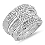 0.40 Carat (ctw) Sterling Silver Round White Diamond Men & Womens Engagement Trio Set (Size 9)