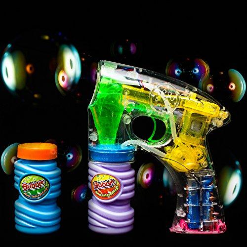 Gun Led (Fun Central C205 3 Pack 6 Inch LED Light Up Bubble Gun, LED Light up Gun, LED Bubble Gun, Bubble Guns, Bubble Machine Gun, Bubble Blower Guns)