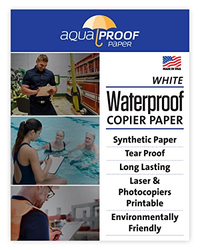"Aquaproof All-Weather / Waterproof Copier Printer Paper, Eco Friendly, Durable, Print on both Sides Made in the USA 5 Mil 25 Sheets 8 1/2"" x 11"""