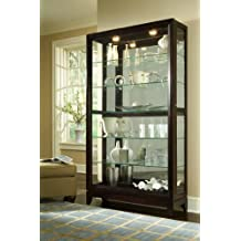 Pulaski Two Way Sliding Door Curio, 46 by 15 by 83-Inch, Chocolate Cherry Finish, Dark Brown