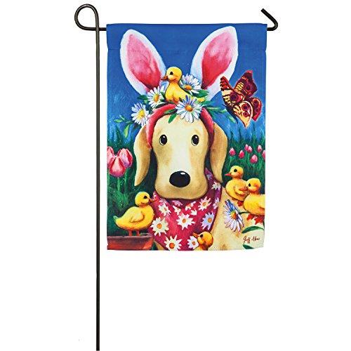 Evergreen Easter Bunny Ears Dog Suede Garden Flag, 12.5 x 18