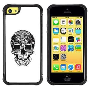 Suave TPU GEL Carcasa Funda Silicona Blando Estuche Caso de protección (para) Apple Iphone 5C / CECELL Phone case / / Biker Cool Skull Death White Black /