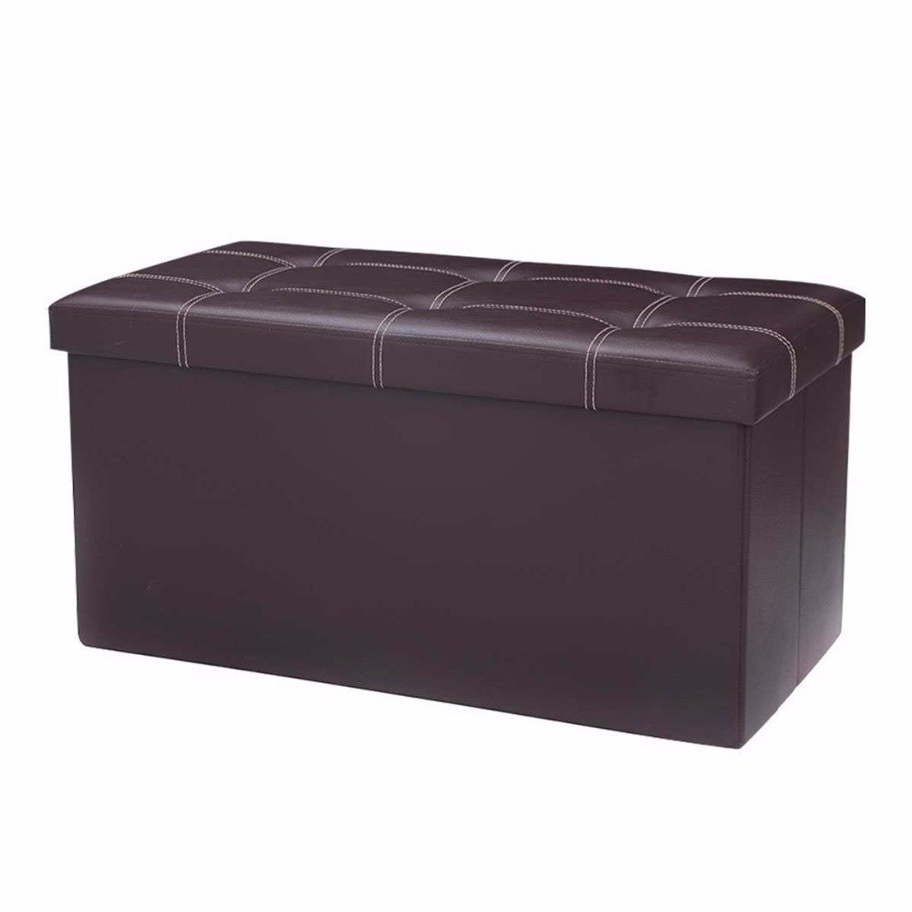 Storage Bench,Foldable Storage Ottoman, Faux Leather Stool for Livingroom Bedroom 29 7/8'' Brown