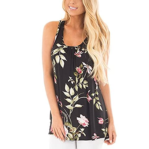 DREAMLOVER Women's Summer Floral Tops Sleeveless Casual Tunic Blouses - Flower Sleeveless Blouse