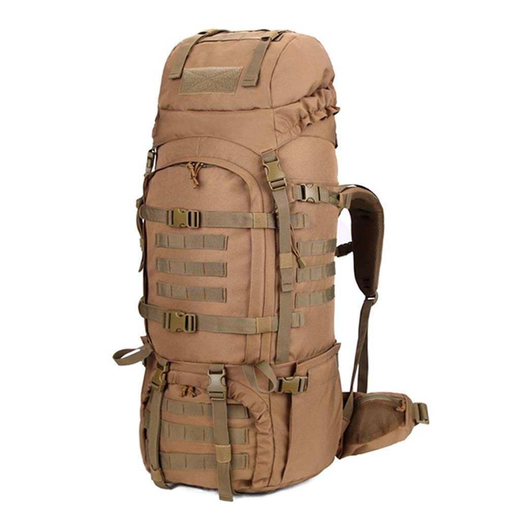 アウトドア登山バックパック特殊戦術軍事バッグのキャンバス防水耐摩耗性の涙 - 耐性の男性と女性のカーキ - レインカバー付き 80L  B07MCSCVSG
