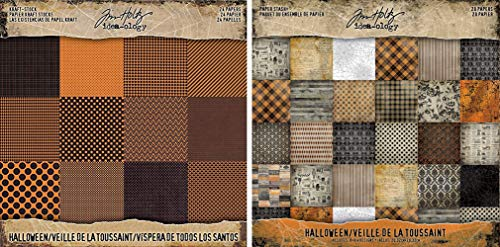 Tim Holtz Idea-ology 2017 Halloween Kraft Cardstock Pad and 2018 Halloween Paper Stash Pad - Two Items ()