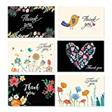 48 Pcs Floral Birds Thank You Cards for Wedding, Bridal Party, Baby Shower, Thanksgiving, Blank Thank U Cards with Envelopes (Style 5)