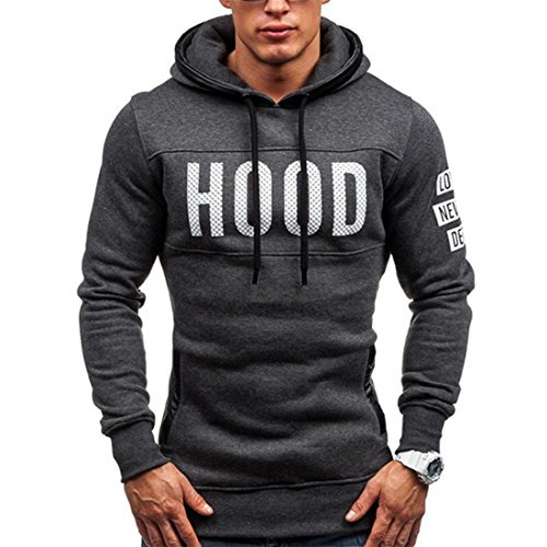 HANYI Men's Pullover Winter Slim Hoodie Warm Pullover Fleece Hooded Sweatshirt Jersey Top Jumper (M, Dark Drey) (Wool Cycling Sweater compare prices)