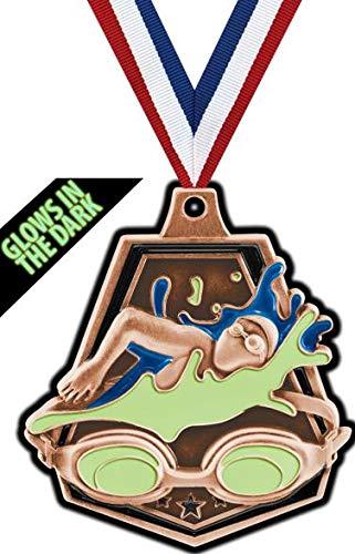 Crown Awardsブロンズ水泳メダル - 2インチ 暗闇で光る スイムキャプテンメダル プライム B07GT8TFJ3  100