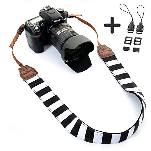 Camera Shoulder Neck Strap by Morxy – Modern Belt For All DSLR Camera Nikon/ Canon/ Sony/ Olympus/ Fujifilm/ Pentax - Perfect Gift For Women (Black and White Stripes)