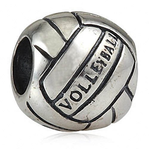- Volleyball Charms 925 Sterling Silver Sports Bead Beach Ball Charm for Charms Bracelet