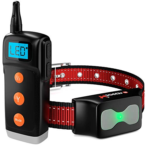 Dog Training Collar – New Upgraded Shock Collar – Waterproof Rechargeable Anti Bark Collar with Vibration Light Beep Electric Shock Modes and Remote Trainer E-Collar 1000 ft for All Breeds Dogs