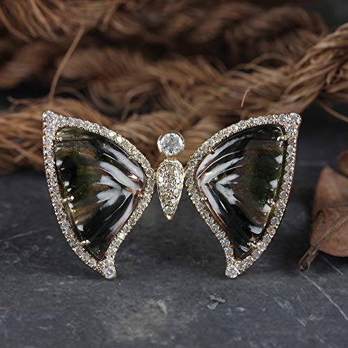 Genuine 10.14 Ct Pink Tourmaline Gemstone Butterfly Ring Diamond Pave Solid 14k Yellow Gold Fine Jewelry Christmas Day Gift For Her ()