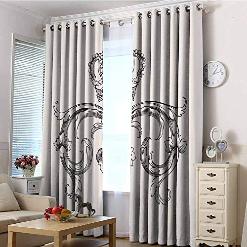 EwaskyOnline Thermal Insulating Blackout Curtains,Medieval Royal Crown with Vintage Curves King Palace Ribbon Monochrome Retro Style,Energy Efficient, Room Darkening,W84x84L Queen Full